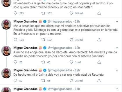 Los tuits de Migue Granados contra los vecinos que rompieron la cuarentena para bailar en la calle