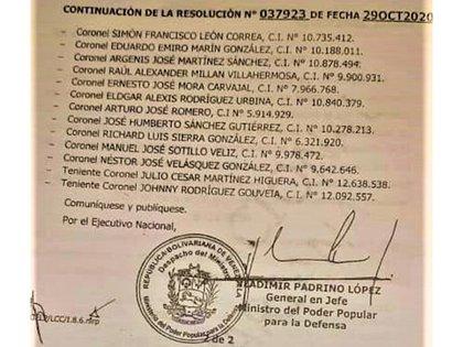 La resolución 37.923, firmada por el ministro de la Defensa, Vladimir Padrino López