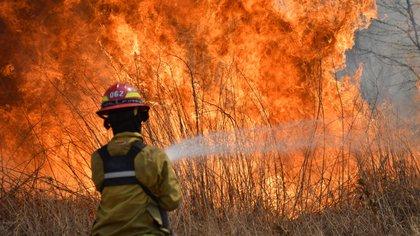 Alrededor de 400 bomberos voluntarios, con la ayuda de 11 aeronaves, continúan tratando de extinguir las llamas (Télam / Irma Mont)