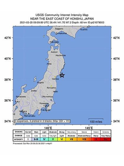 El terremoto tuvo epicentro en el mar frente a la costa de Miyagi a unos 60 kilómetros de profundidad (EFE/EPA/USGS HANDOUT)