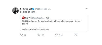 La reacción de Fede Bal al escuchar que Carmen Barbieri dijo que quiere ser abuela