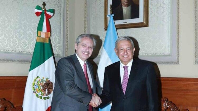 Alberto Fernández y Andrés López Obrador en el Palacio Nacional