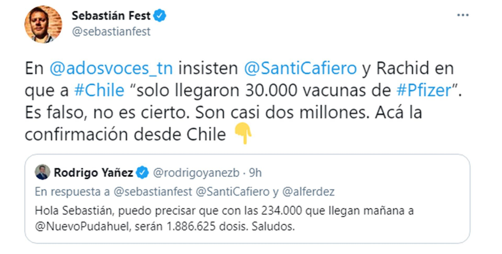 Rodrigo Yañez tuit vacunas Pfizer