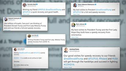 Los tuits de los líderes mundiales saludando a Trump