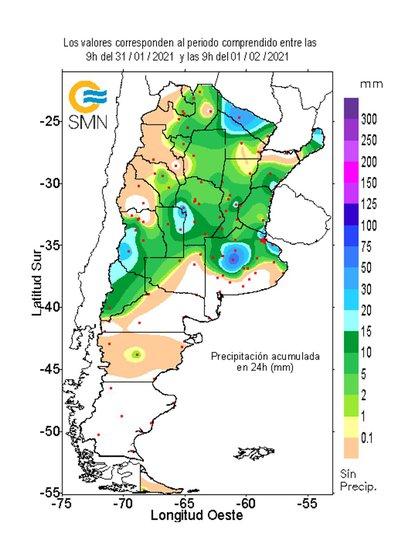 Detalle de las últimas precipitaciones (INTA)