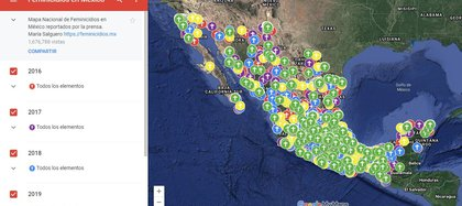 Mapa de Feminicidios en México diseñado por María Salguero Bañuelos (http://mapafeminicidios.blogspot.com/p/inicio.html)