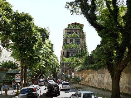 Este edificio de 22 pisos se encuentra en el corazón de la ciudad de San Pablo, Brasil.  El rascacielos, denominado Torre Rosewood, es parte de Cidade Matarazzo, un sitio de 27,000 metros cuadrados que contiene edificios históricos que alguna vez formaron el hospital de maternidad Filomena Matarazzo (Ateliers Jean Nouvel)