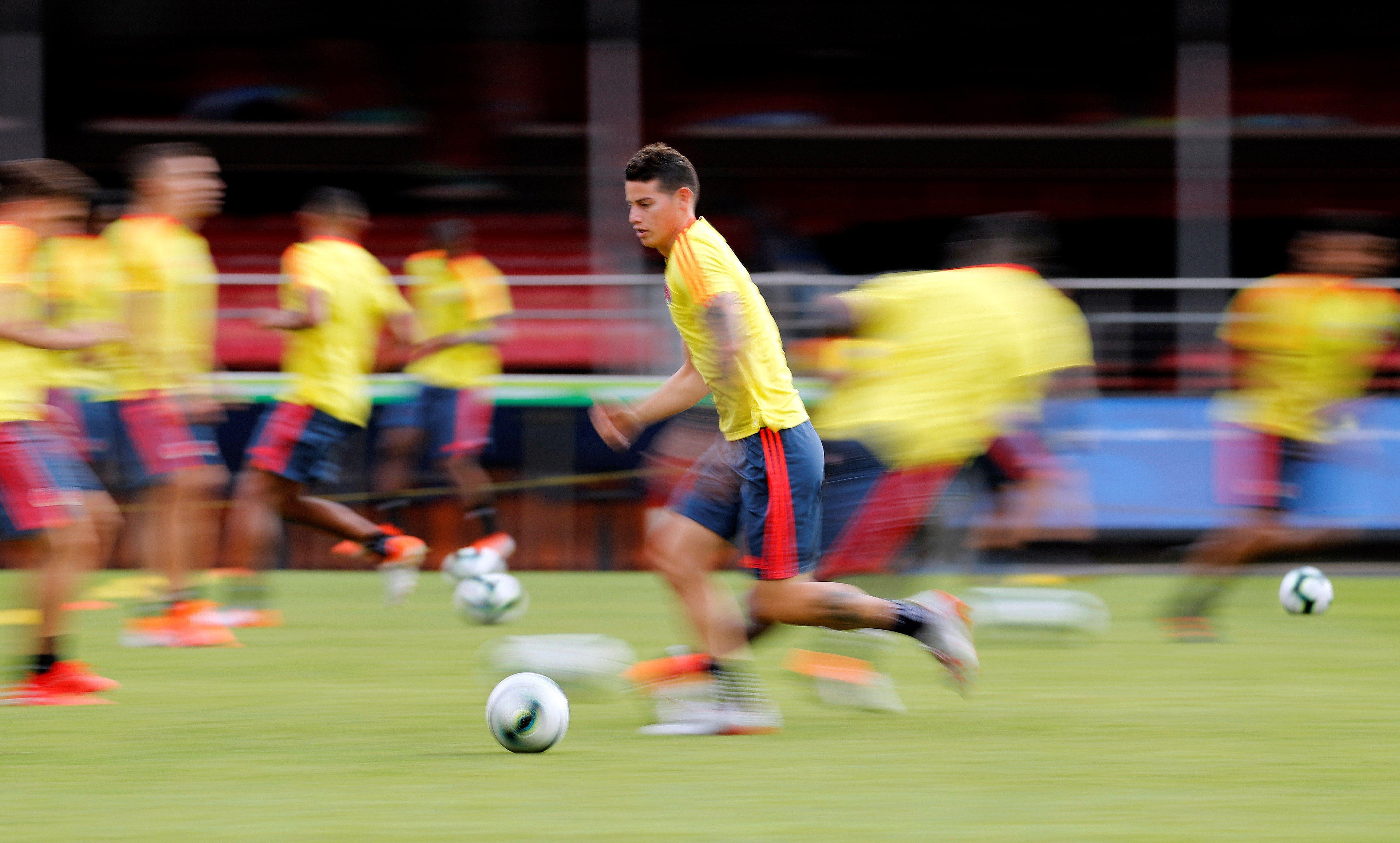 El jugador de la selección Colombia James Rodríguez. EFE/ Paulo Whitaker/Archivo