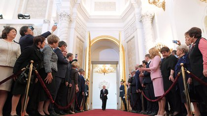 Los invitados asisten a una ceremonia de inauguración de Vladimir Putin como presidente de Rusia en el Kremlin en Moscú, Rusia, el 7 de mayo de 2018. (Reuters)