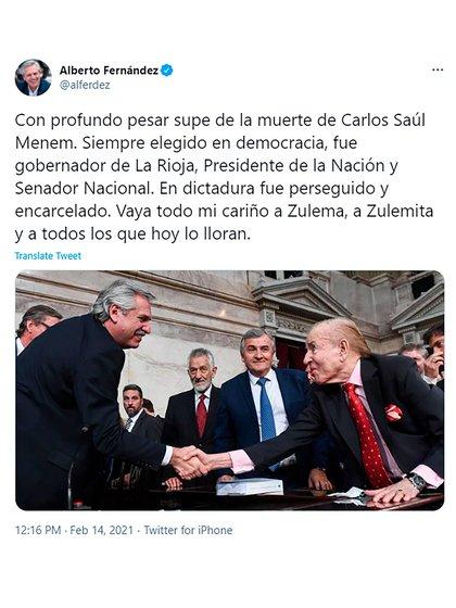 El mensaje del presidente Alberto Fernández