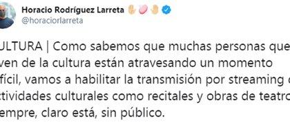 El tuit de Horacio Rodríguez Larreta en el que indica que se retomará la actividad teatral