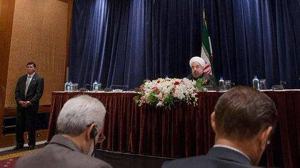 Conferencia de prensa en Nueva York del presidente de Irán, Hassan Rohani. AP 163