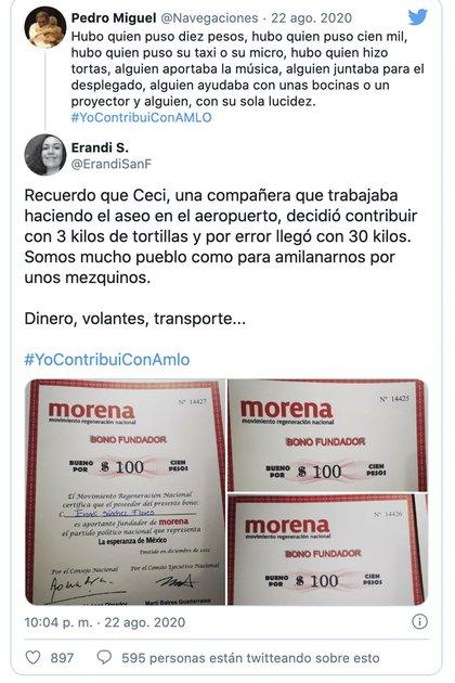 La imagen es un montaje: el certificado con folio 14427 pertenece a Erandi Sánchez Flores y la donación, realizada en el año 2012, fue de 100 pesos (Foto: Twitter@Navegaciones)