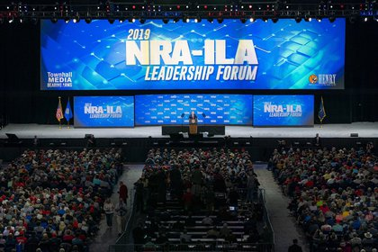 Indianapolis Indiana United States US President Donald J. Trump addresses his remarks at the National Rifle Association annual convention