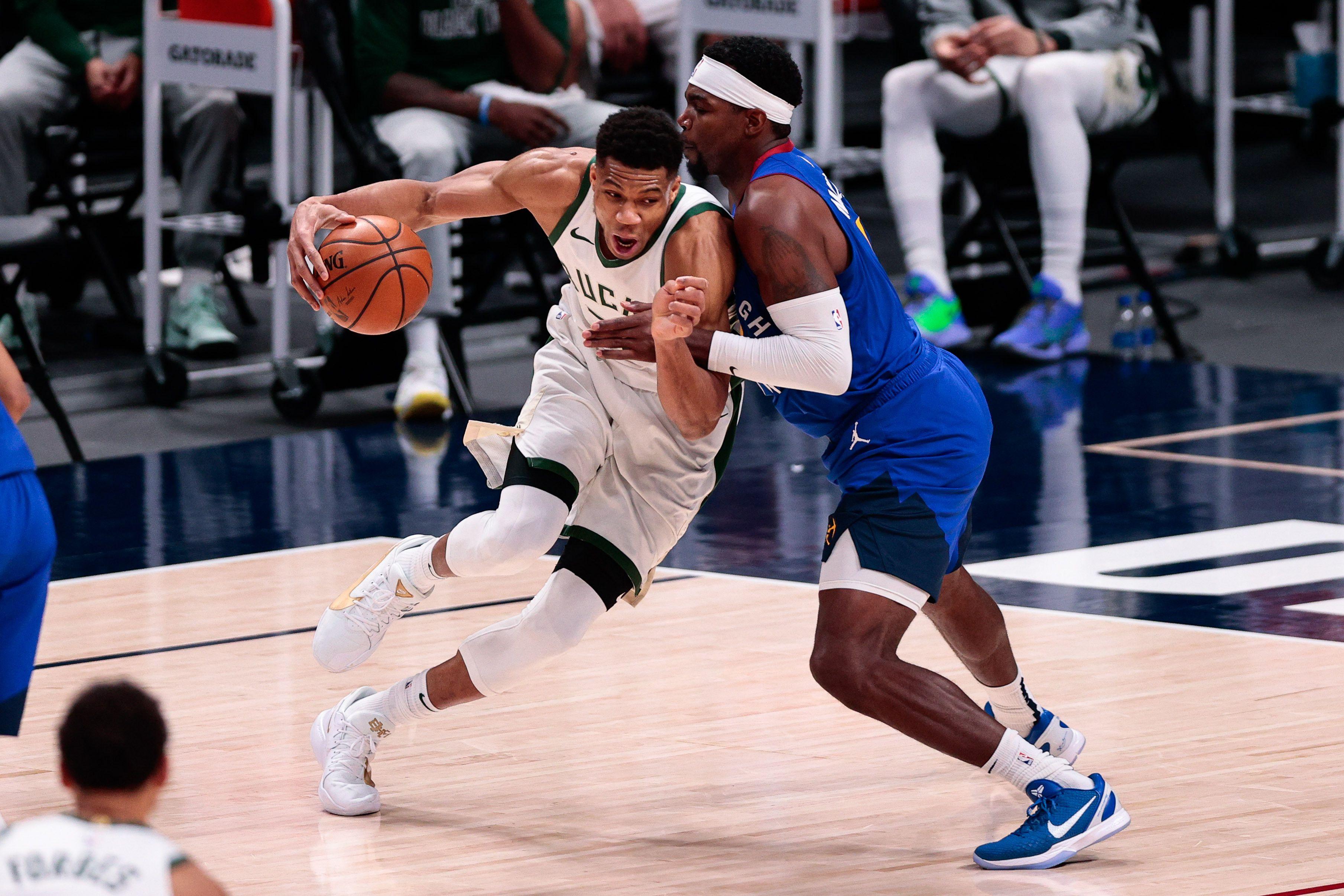 Giannis Antetokounmpo fue una de las figuras en el triunfo de los Bucks ante Denver (USA TODAY Sports)