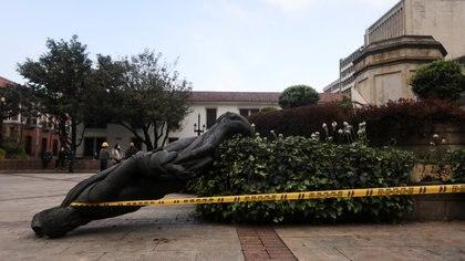 Estudiantes y egresados de antropología de la U del Rosario celebran caída de la estatua de Gonzalo Jiménez de Quesada