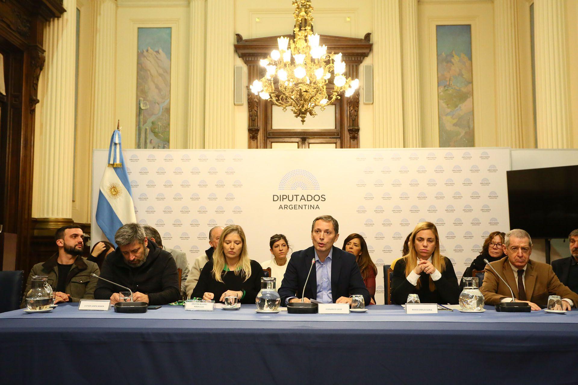 La conferencia de prensa del PJ bonaerense en la Cámara de Diputados.