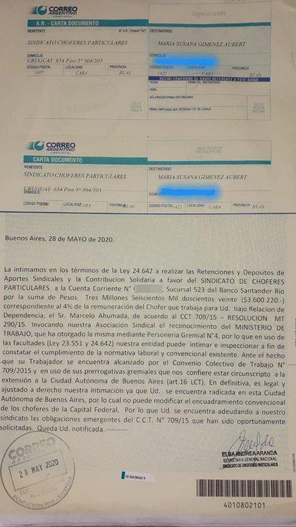 La carta documento dirigida a Susana Giménez