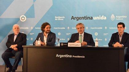 """Ginés González García, Santiago Cafiero, Alberto Fernández y Eduardo """"Wado"""" De Pedro (Franco Fafasuli)"""