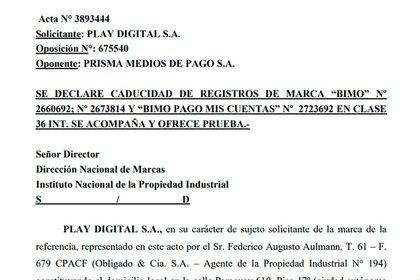 """La presentación de Play Digital pidiendo la """"caducidad por falta de uso"""" de la marca Bimo, registrada años atrás por Prisma."""
