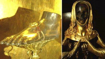 El pie de Santa María Magdalena que se venera en Roma y el relicario con el Cráneo de Santa María Magdalena que se venera en Francia