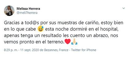 Melissa Herrera escribió desde el hospital después de la fuerte agresión que sufrió