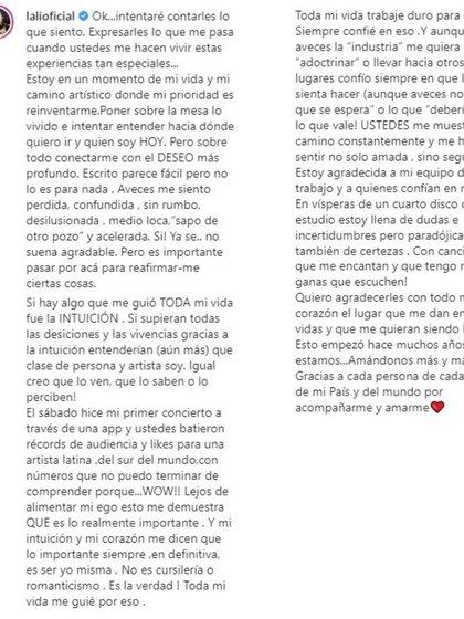 El texto completo de Lali Espósito (Foto: Instagram)