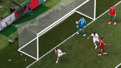Toma desde arriba del gol de Cristiano Ronaldo ante Marruecos en la segunda fecha del Grupo B del Mundial de Rusia 2018 (REUTERS)