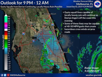 """El panorama de lo que se espera esta noche de lunes en Florida, tras el """"estacionamiento"""" de Dorian en el norte de las Bahamas (Foto: NHC)"""