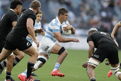 El capitán Matera lideró al seleccionado argentino dentro de la cancha (AP Photo/Rick Rycroft)