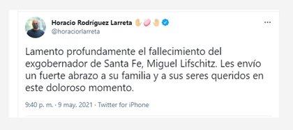 El Jefe de Gobierno Horacio Rodríguez Larreta también se mostró muy dolido por la partida del ex Gobernador de Santa Fe
