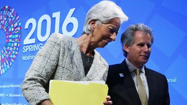 Christine Lagarde, ex titular del Fondo, y David Lipton, director interino