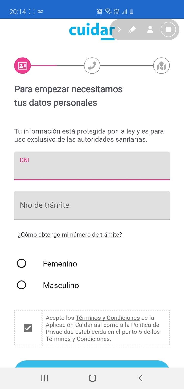 Una vez que se descargó la app hay que completar el formulario con nombre, apellido, DNI y habilitar la geolocalización.