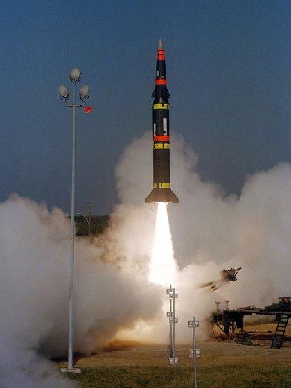 El misil balístico de rango intermedio Pershing II, discontinuado por Estados Unidos por el INF