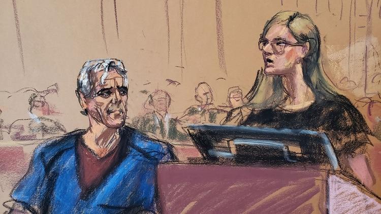 Ilustración de Epstein en la corte. (Reuters)