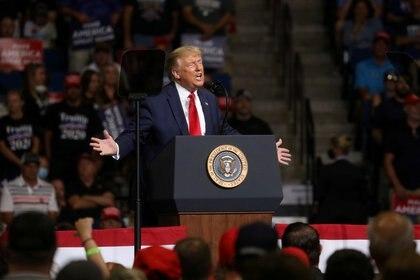 Donald Trump durante el acto en Tulsa, Oklahoma, el 20 de junio (REUTERS/Leah Millis/File Photo)