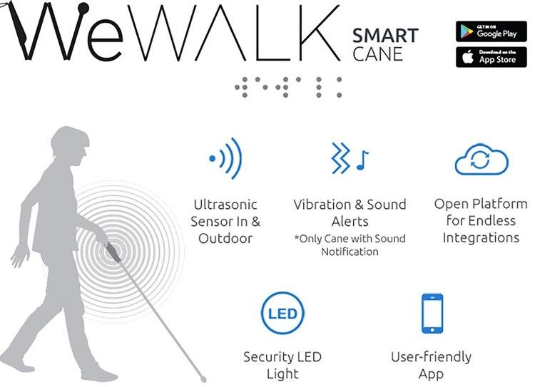 WeWalk conecta con el smartphone a través de Bluetooth, compatible con iOS y Android