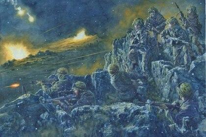 La batalla de Tumbledown, por el artista Steve Noon