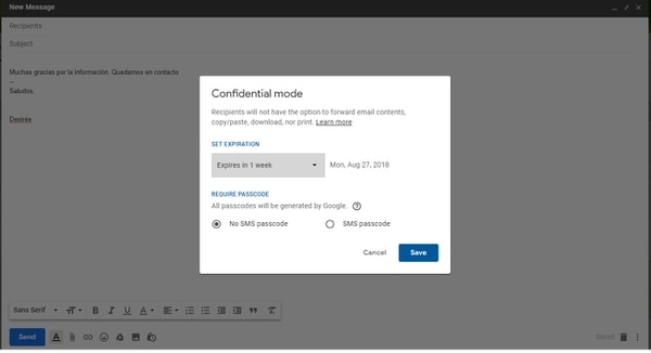 Para acceder al Modo confidencial en la versión de escritorio hay que presionar en el candado que figura en el margen inferior que aparece al escribir un correo