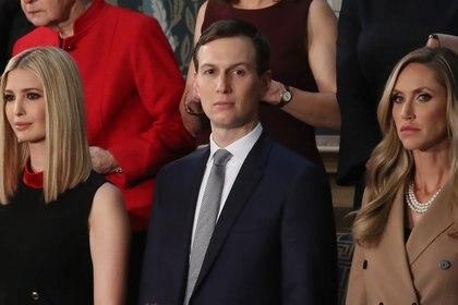 Ivanka Trump (izquierda), Jared Kushner y Lara Trump asisten al discurso del Estado de la Unión.  Mark Wilson/Getty Images/AFP