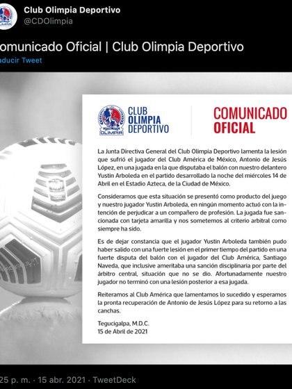 Comunicado del Club Olimpia (Foto: Twitter@CDOlimpia)