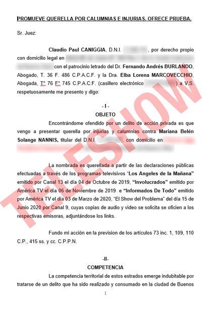 La denuncia por calumnias e injurias que realizó Claudio Caniggia contra Mariano Nannis