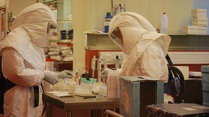Científicos del Inistuto Malbrán trabajando en una muestra de un caso sospechoso de coronavirus COVID-19