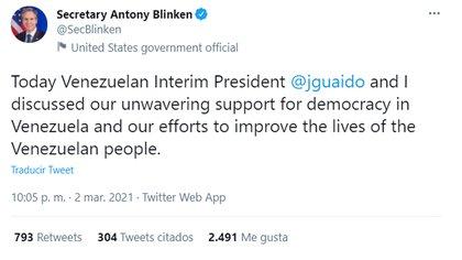 Tweet Anthony Blinker sobre su conversación con Guaidó