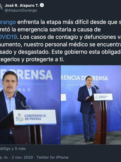 Aispuro anunció un aumento en los casos positivos, en la demanda hospitalaria y en la velocidad de transmisión del COVID-19 (Foto: Twitter / @ AispuroDurango)