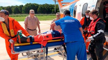 Tras recibir las primeras asistencias, el hombre fue trasladado a un centro médico de Mar del Plata