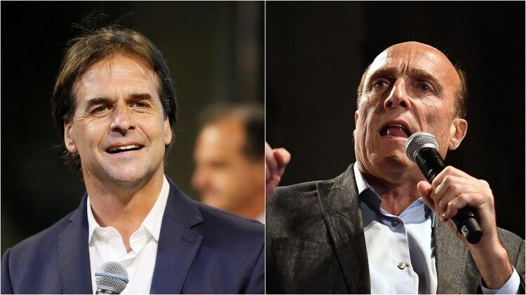 El candidato del Partido Nacional Luis Lacalle Pou y el del Frente Amplio Daniel Martínez, competidores en la segunda vuelta (Reuters/AFP)