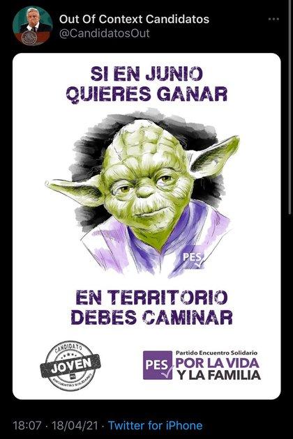 El PES utilizó a un famoso personaje de la saga Star Wars para su cartel (Foto: Twitter / @CandidatosOut)