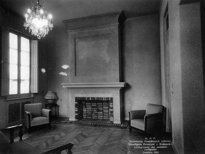 Habitación dentro del pabellón de huéspedes, en octubre de 1942. Esta construcción aún existe y se reserva para los invitados de los presidentes y de las primeras damas.