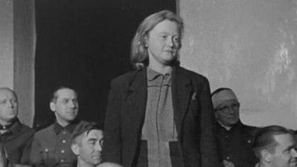 Isle Koch durante el juicio de Dachau (US national Archives)